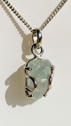 Aquamarine Oval Rough Cut Sterling Silver Necklace